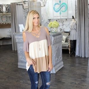 Mocha Cold Shoulder Color Block Tunic